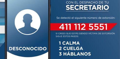DETECTA SSP MODALIDAD DE EXTORSIÓN TELEFÓNICO