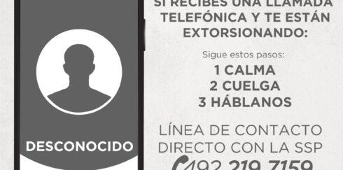 DETECTA SSP MODALIDAD DE EXTORSIÓN TELEFÓNICA