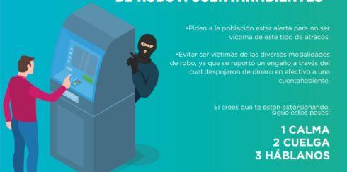 ADVIERTE SSP SOBRE MODALIDAD DE ROBO A CUENTAHABIENTES