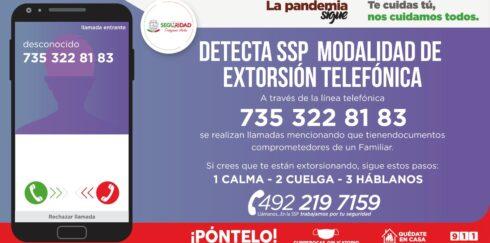 DETECTA SSP MODALIDAD DE EXTORSIÓN EN LA QUE ASEGURAN TENER A UN MENOR PRIVADO DE SU LIBERTAD
