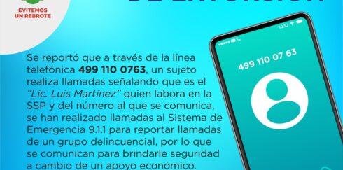 ALERTA SSP SOBRE MODALIDAD DE EXTORSIÓN TELEFÓNICA